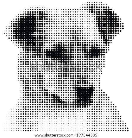 Portrait of dog - in dotted rasters - stock vector