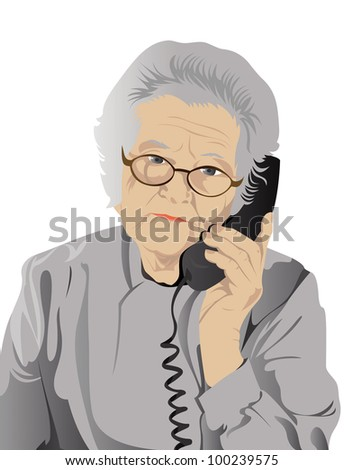 portrait of elderly woman is in red with an dark blue telephone - stock vector