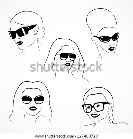Portrait Of Fashion Girls In Glasses Isolated On White Background - Vector Illustration, Graphic Design Useful For Your Design. Eps 10. Logo Symbol - stock vector