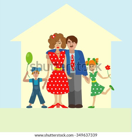 Portrait of four member happy stylish family posing together. Parents with kids. Vector colorful illustration in flat design  - stock vector