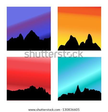 Portrait of Four Mountain Range Sunsets, Vector - stock vector