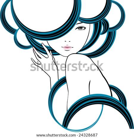 portrait of girl in style modern - stock vector