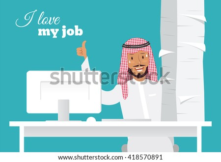 Portrait of handsome arabic office worker at his desk doing thumb up sign. I love my job and paperwork concept. Daily routine, lot of work. Vector flat illustration - stock vector