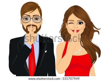 portrait of handsome businessman and attractive woman winking, making silence or secret hand gesture with finger on their lips - stock vector