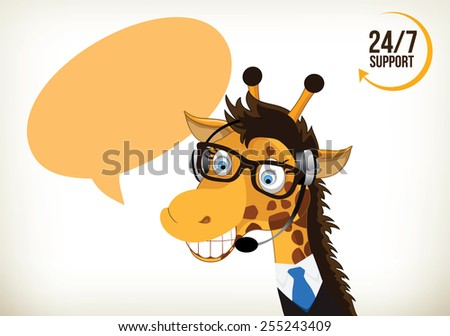 Portrait of happy smiling cartoon giraffe support phone operator in headset - stock vector