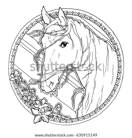 portrait of horse; decorative graphic illustration with flowers and frame