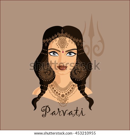 Portrait of Indian goddess Parvati with long brown hair and earrings, necklace and head accessories and red dot between eyes, on dark brown background with Shiva trissue