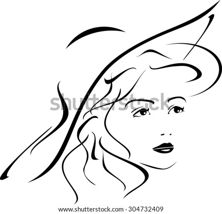 Portrait of lady in hat. Icon for design. Vector - stock vector