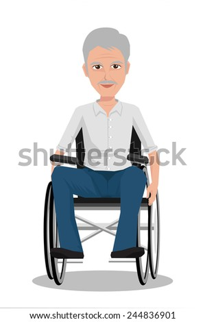 Portrait of middle age man in wheelchair. Vector illustration