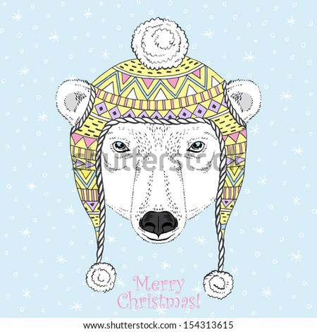 Portrait of Polar Bear in Winter Ornate Hat  - stock vector