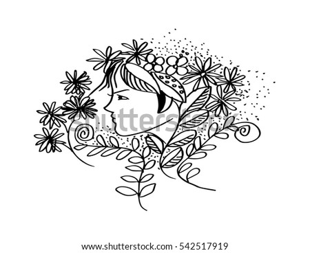 Portrait of pretty young woman in profile view with long beautiful hair with flowers. Vector