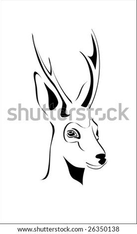 portrait of roe shed  cast horns vector antler horn - stock vector
