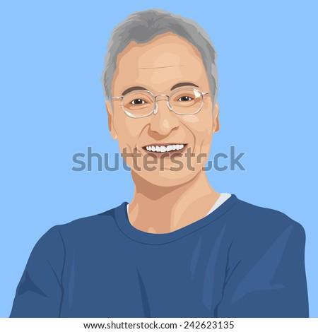 Portrait of Senior Adult Vector - stock vector