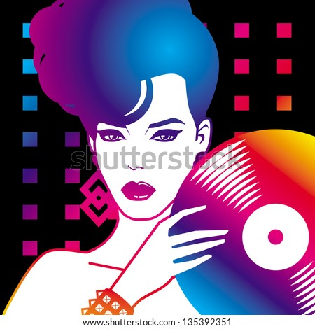 portrait of sexy woman with vinyl - stock vector