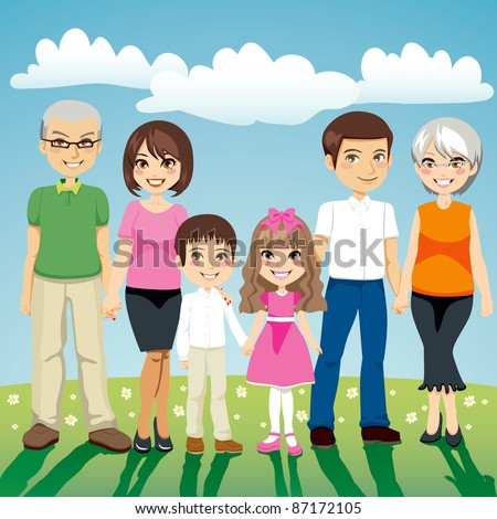 Portrait of six people extended family standing outdoors holding hands - stock vector