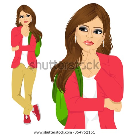 portrait of student girl with backpack thinking about something isolated over white background - stock vector