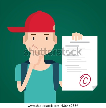 Portrait of teenager showing bad test results with score C. Vector flat  illustration - stock vector