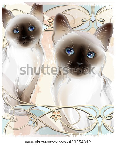 Portrait of the couple Thai cats. Traditional Siamese cats. Two kittens on the grunge background. - stock vector