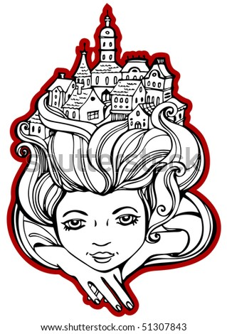 Portrait of the girl for which in hair small town - stock vector