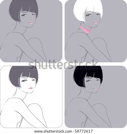 Portrait of the girl with a short hairstyle - stock vector