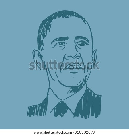 Portrait of the President of USA Barack Obama. Vector sketch. Brussels, March 26, 2014.