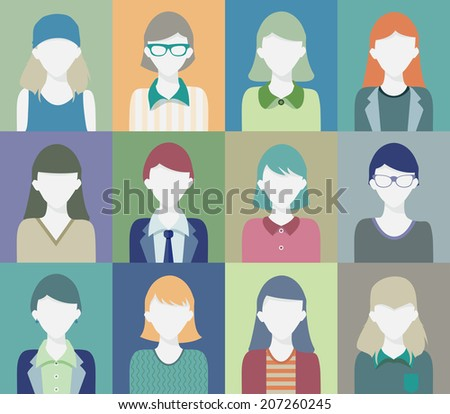 Portrait of woman face in various combinations. - stock vector