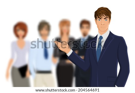 Portrait of young businessman in suit with blured business team vector illustration - stock vector