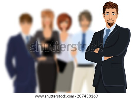 Portrait of young businessman in suit with blurred business team vector illustration - stock vector