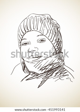 Portrait of young girl in winter hat, Vector sketch, Hand drawn illustration