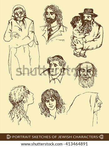 portrait sketches of jewish characters - stock vector