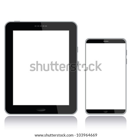 portrait view illustration of a tablet pc and smart phone with white screen for copyspace,isolated in white background. - stock vector
