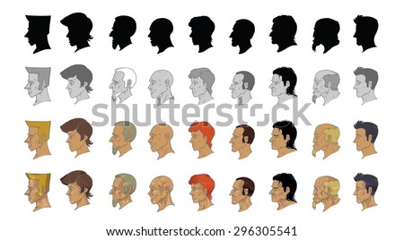 portraits in profile with different versions painting - stock vector