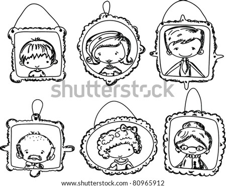 Family Portrait Clipart Black And White