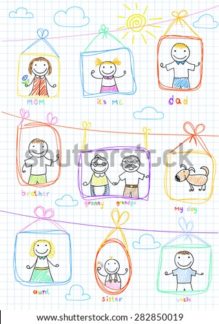 Portraits of happy family. Vector sketch on notebook page - stock vector