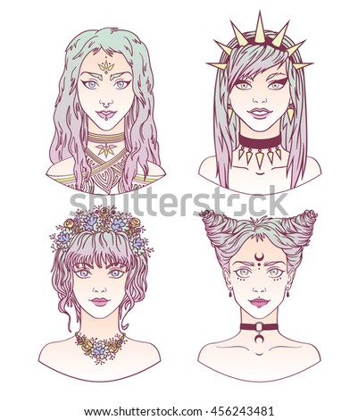 Portraits of stylish girls on a white background. Avatars of stylish girls with modern gradient hairstyle in hand drawn style. Vector illustration. Colorful set of modern girls. - stock vector