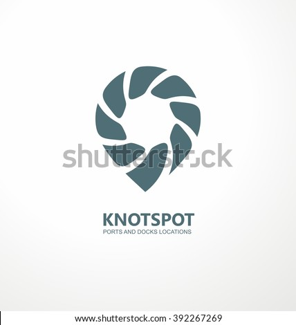 Ports and docks location guide creative symbol concept. Knot spot logo design idea. Logo inspiration with rope and spot mark. Sailing boats and ships theme. Pin icon. Global Positioning System theme. - stock vector