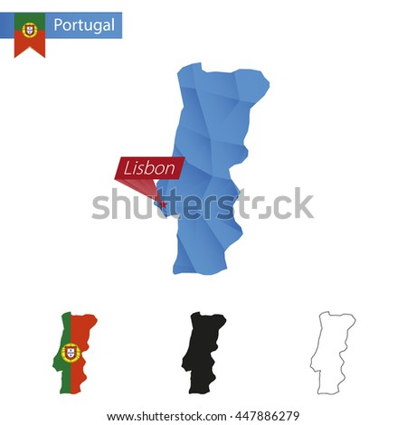Portugal blue Low Poly map with capital Lisbon, versions with flag, black and outline. Vector Illustration. - stock vector