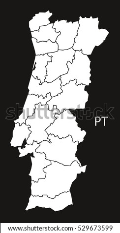 Portugal Map Districts Grey Stock Vector Shutterstock - Portugal map districts