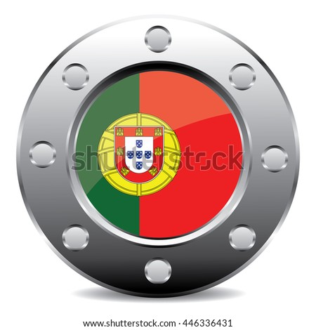 Portugal Flag Chromium Button, Icon