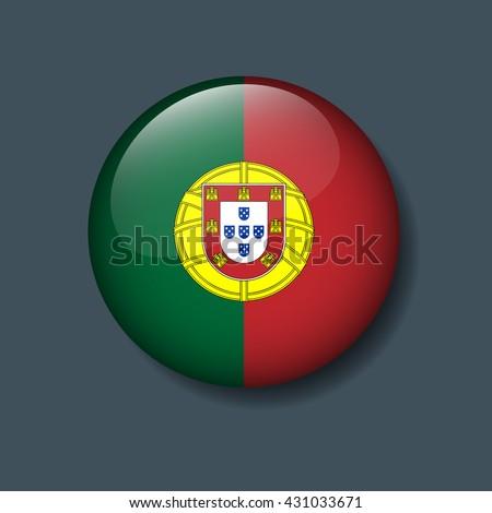 Portugal Flag on Button, Logo Euro 2016 Soccer, Football team concept  - stock vector