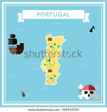 Portugal Flat Treasure Map Colorful Cartoon Stock Vector - Portugal map icon