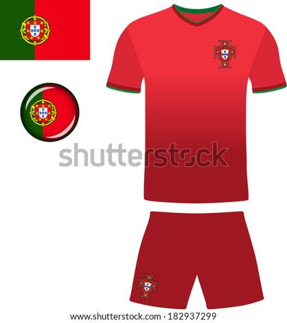 Portugal Football Jersey. Abstract vector image of the Portuguese football kit, along with flag and icon. - stock vector
