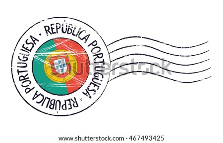 Portugal grunge postal stamp and flag on white background