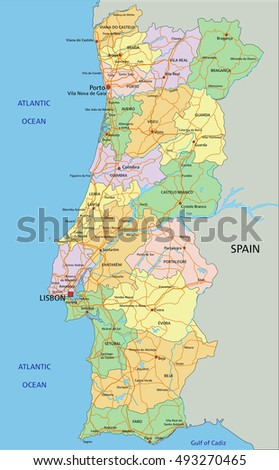 High Detailed Portugal Physical Map Labeling Stock Vector - Portugal physical map