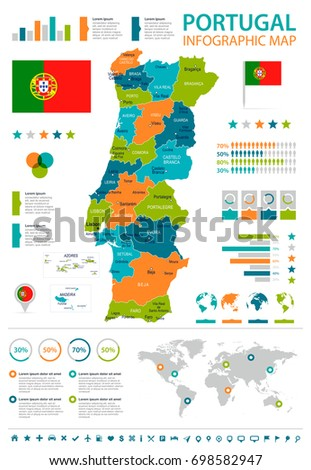 Portugal Infographic Map Flag Vector Illustration Stock Vector - Portugal map flag