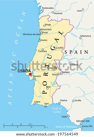 Portugal Political Map with capital Lisbon, national borders, most important cities, rivers and lakes. Vector illustration with English labeling and scaling. - stock vector