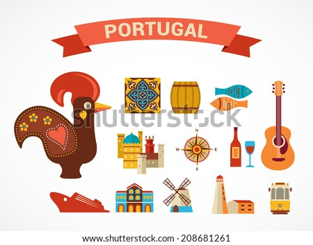 Portugal -  vector icons and illustration, tourism and travel concept - stock vector