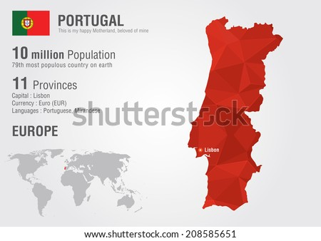 Portugal World Map Pixel Diamond Texture Stock Vector (Royalty Free ...