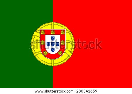 Portuguese flag. Official state symbol of the country. Correct proportions and colors. Consists of red and green rectangles heraldic shield. Can be used to refer Portugal on the maps. - stock vector