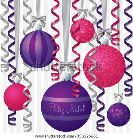 Portuguese pink and purple ribbon and bauble inspired Merry Christmas card in vector format. - stock vector